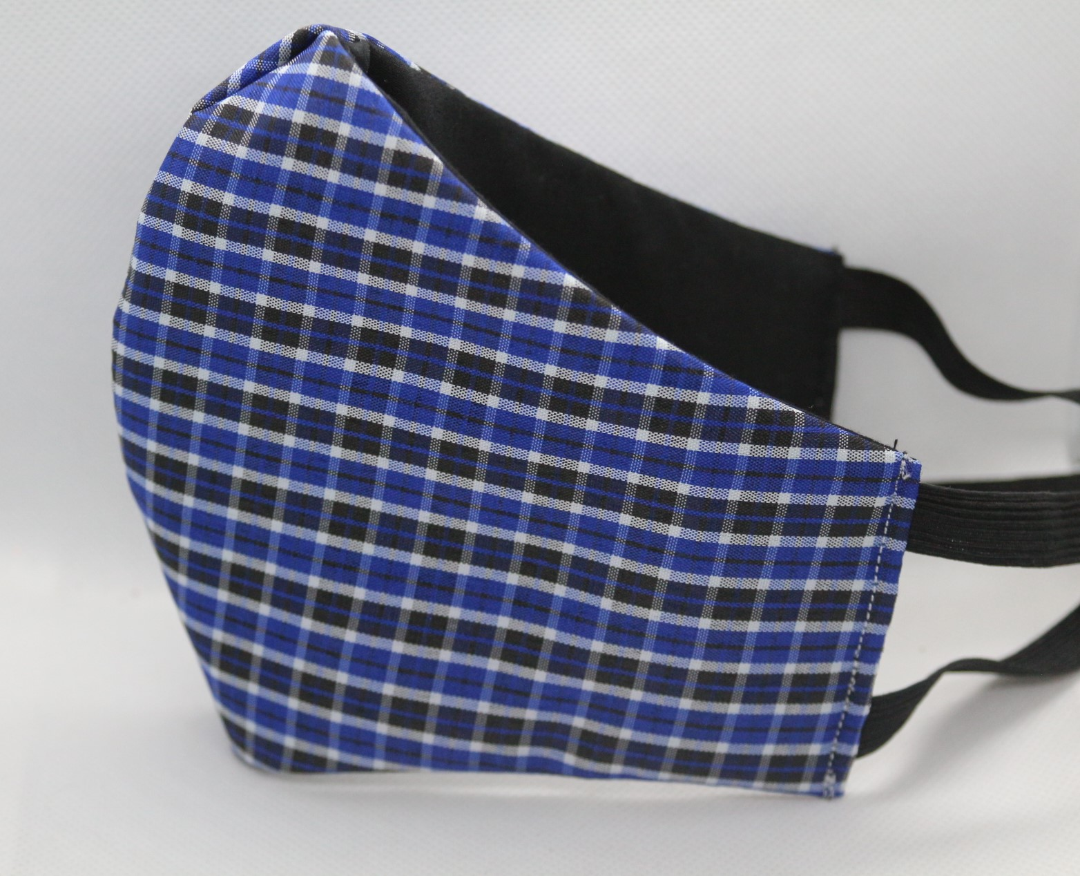 Blue and Black Plaid Triple Layer Face Mask w/filter