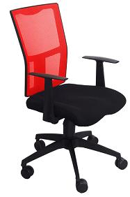 Manager Chair (Praga) Black/Red w/Gas Lift Nylon Base Mesh Fabri