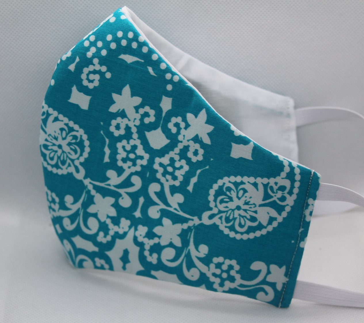 Teal and White Triple Layer Face Mask w/filter